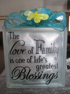 LOVE OF FAMILY Glass Block