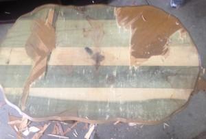 Oval side table- Removing veneer